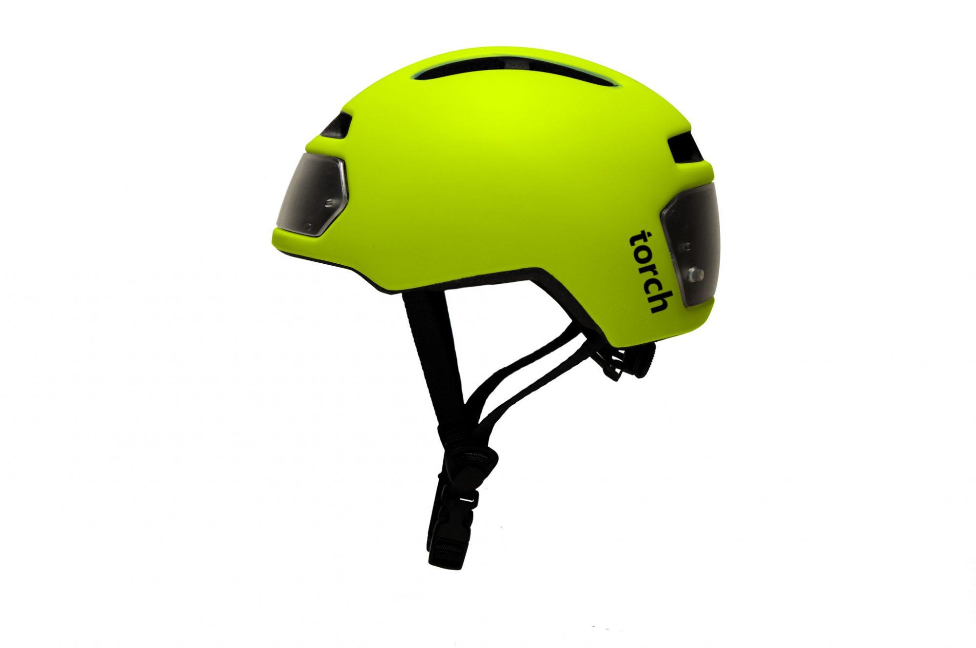 Gele Torch T2 monowheel fietshelm met geïntegreerde voor- en achterverlichting